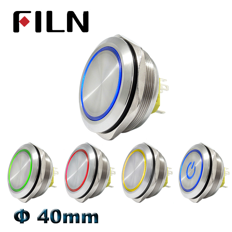 16mm 12V Blue LED Momentary Push Button Metal Switch Car Boat Bell Horn ZJP