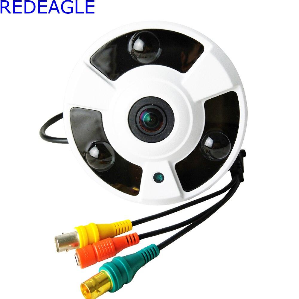 180 degrés FishEye SDI caméra de sécurité CCTV 1/3 panoramique CMOS 2MP 1080 P HD caméras avec adaptateur d'alimentation
