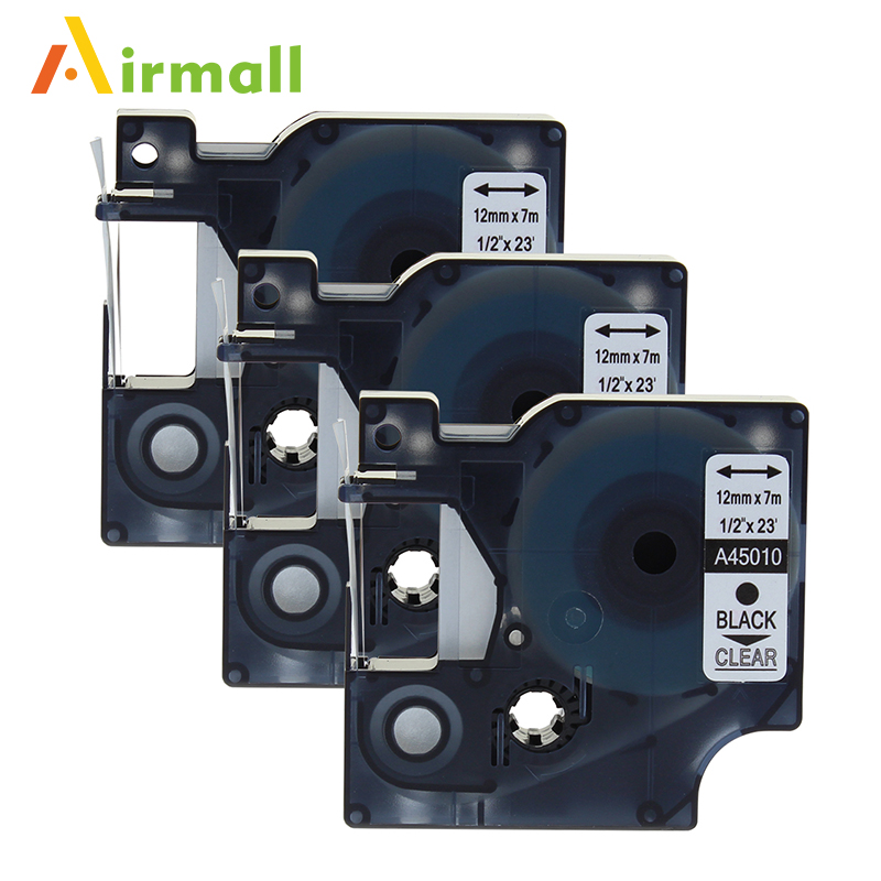 Airmall 3 Pack lot Compatible DYMO D1 Label Tapes 12mm black on clear 45010 for DYMO