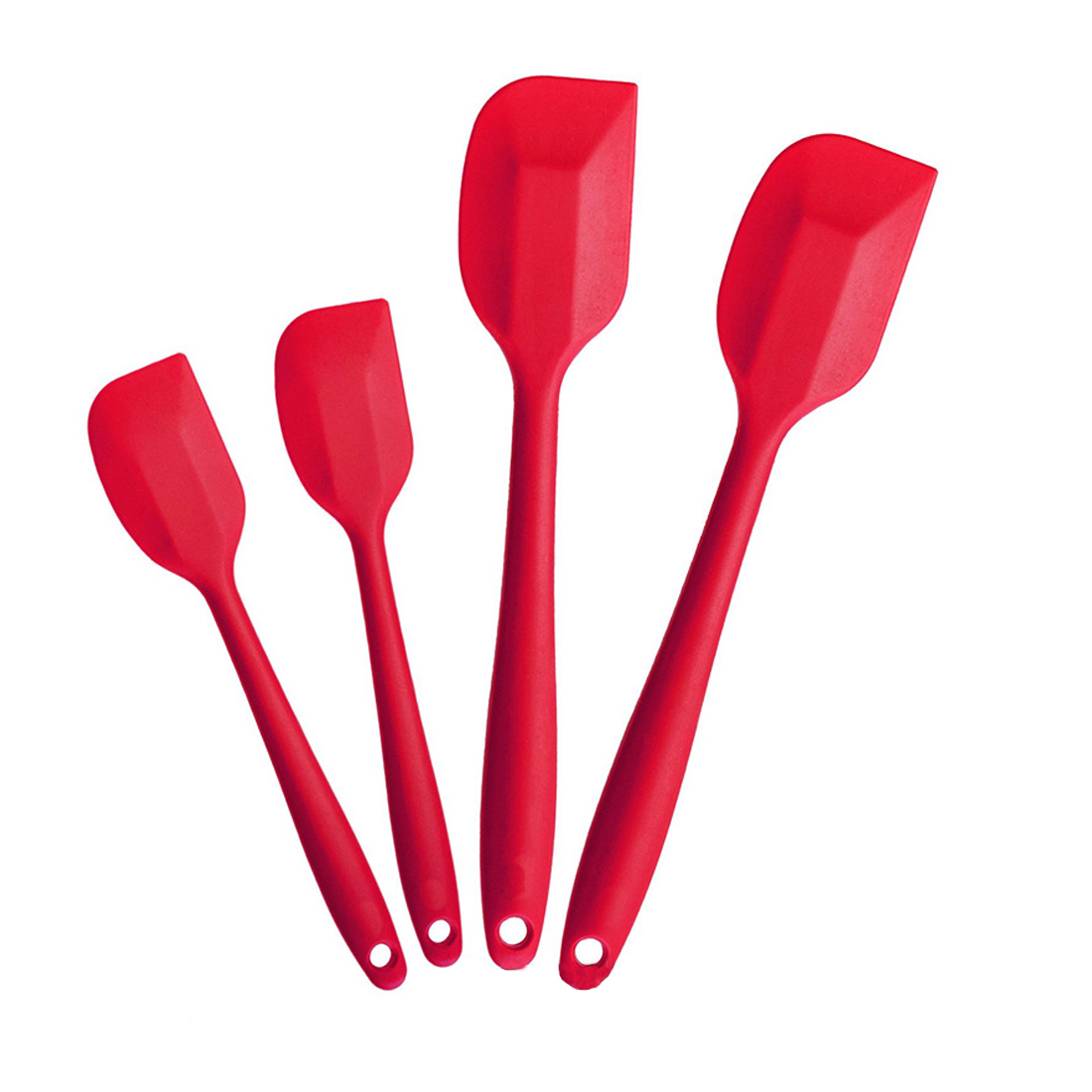 4 Pcs/Set Food Grade Silicone Cooking Tools Sets Heat Resitant Non-Stick Red Spatula Cooking Bake Tool DIY Home Cooking Tool Set