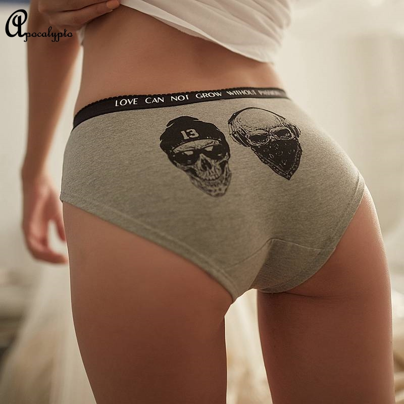 Punk Rock Skull <font><b>3D</b></font> Printed <font><b>Sexy</b></font> Women's Panties Skeleton Cotton lingerie Seamless Briefs Letter Fashion <font><b>Cartoon</b></font> Girl Underpants image