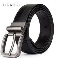 IFENDEI 100 Genuine Leather Men S Belt Rotated Pin Buckle Strap Luxury Brand Belts Cowskin Striped