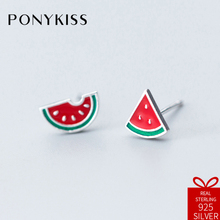 PONYKISS Romantic S925 Sterling Silver Chic Minimalist Summer Watermelon Stud Earrings Wome