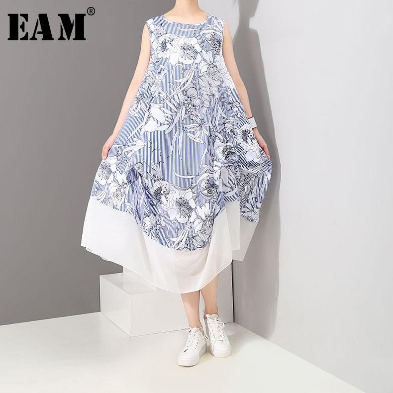 [EAM] 2018 Summer Fashion New Floral Print Chiffon Stitching Hit Color Hemline Sleeveless Round Collar Womens Dress YC643
