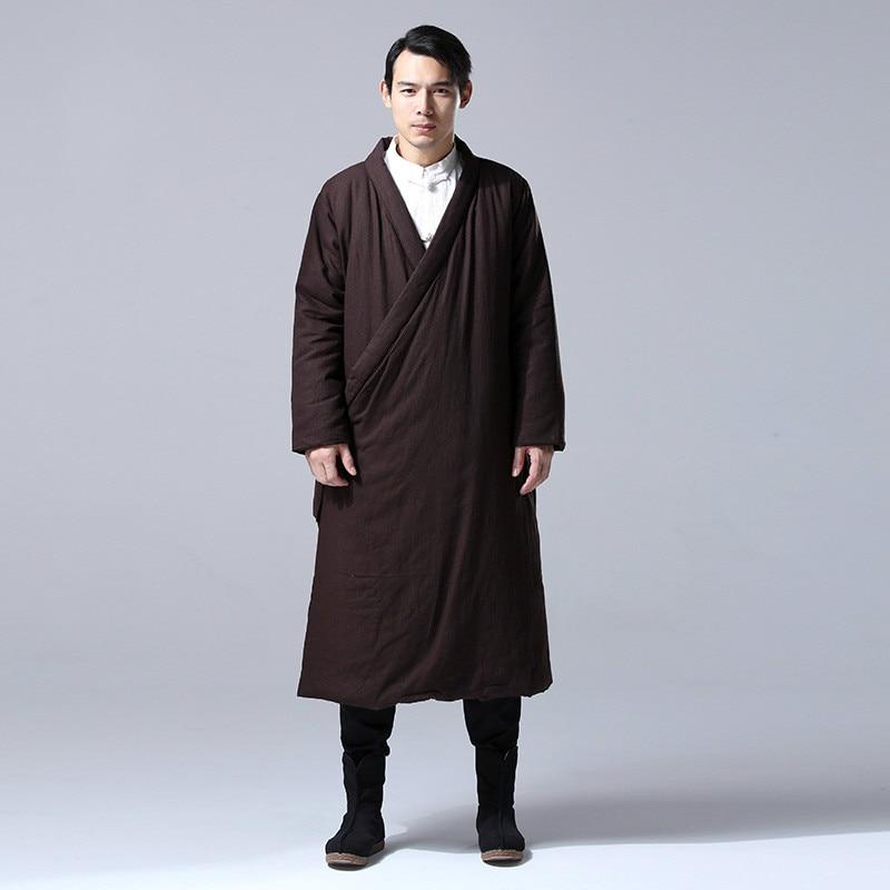 Men winter outwear men s cotton linen chinese kung fu coat men cotton padded loose long
