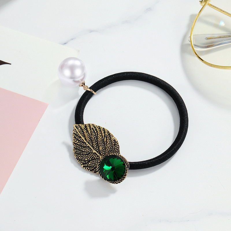 CHIMERA Vintage Leaf Hair Tie Rope Pearl Metal Ponytail Holder Green Rhinestone Elastic Band Gum for Women Accessories