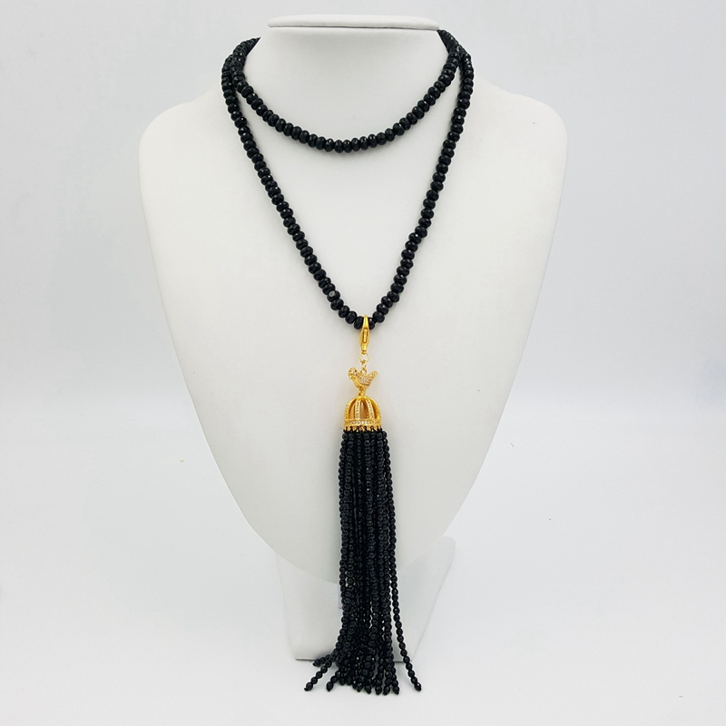 Lii Ji Black Agate 80cm long necklace with Black Agate 3mm Facted beads Tassel stylish natural black agate necklace 43cm