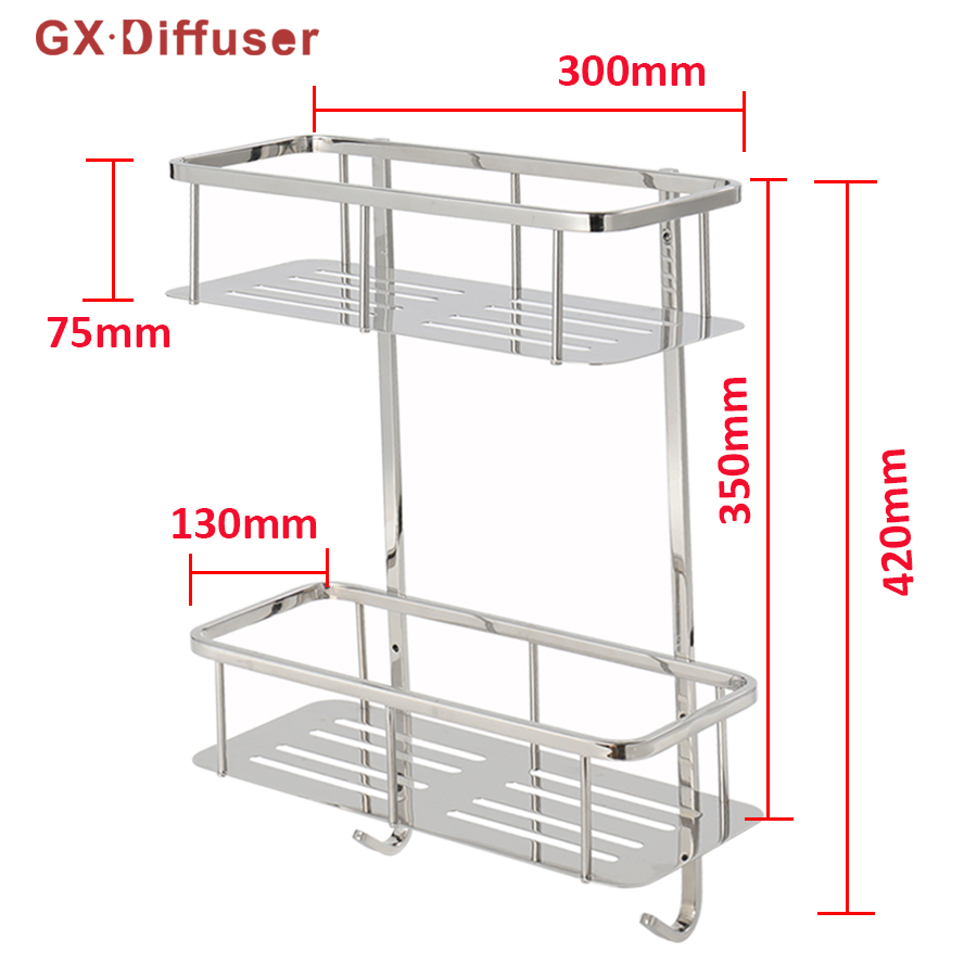 GX Diffuser Bathroom Shower Shelves Rack Shampoo Holder 304 Stainless Steel Polished Shelf Bath Caddy Accessories Tool Organizer black bathroom shelves stainless steel 2 tier square shelf shower caddy storage shampoo basket kitchen corner shampoo holder