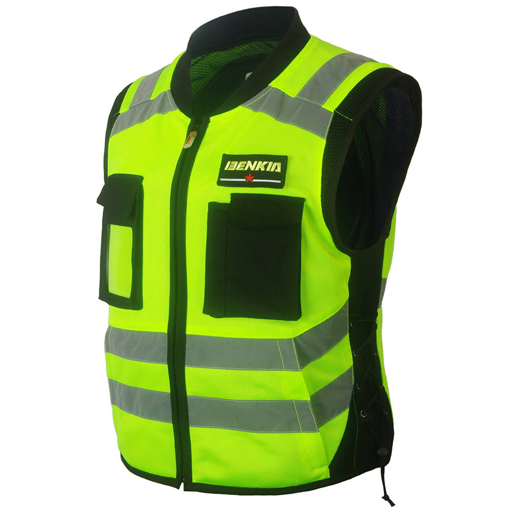 BENKIA Motorcycle Racing Reflective Vest High Visibility Safety Vest Warning Clothing With Pocket Spring Summer Chaqueta Moto