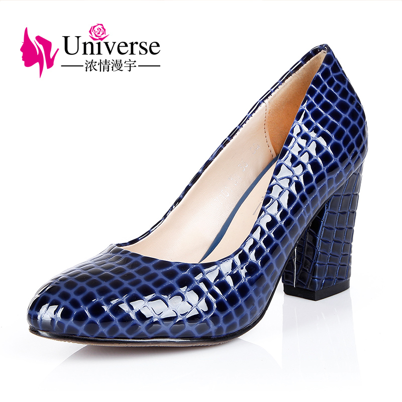 Universe Office Career Shoes 8cm High Heel Pumps Comfortable Square Heel Round Toe Shoes E075