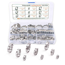 Stainless Steel Single Ear Hose Clamp 80Pcs Crimp Hose Clamp Assortment Kit Ear Stepless Cinch Rings Crimp Pinch Fitting Tools