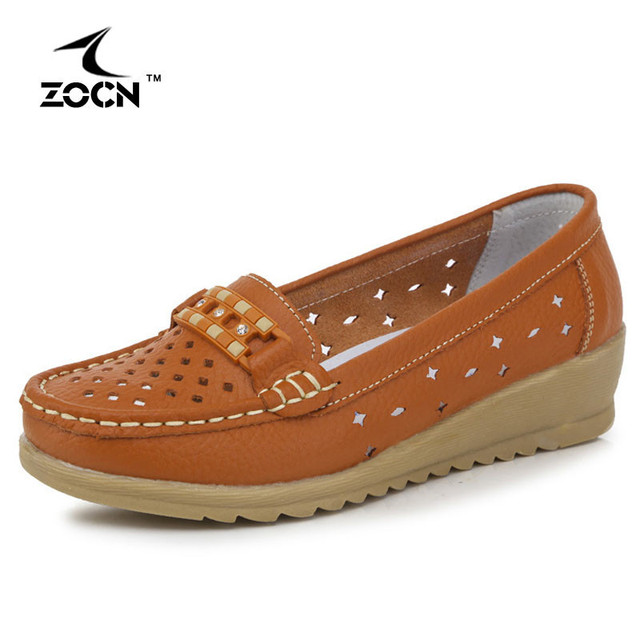 ZOCN 2016 Women Loafers Lady Ballerina Flat Shoes Woman Summer Flats Hollow Soft Genuine Leather Moccasins Platform Nurse Shoes