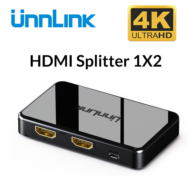 Unnlink HDMI Splitter 1x2 UHD4K FHD1080P@60H 3D 1 In 2 Out for computer smart led tv box mi 3 xbox one projector ps4 monitor