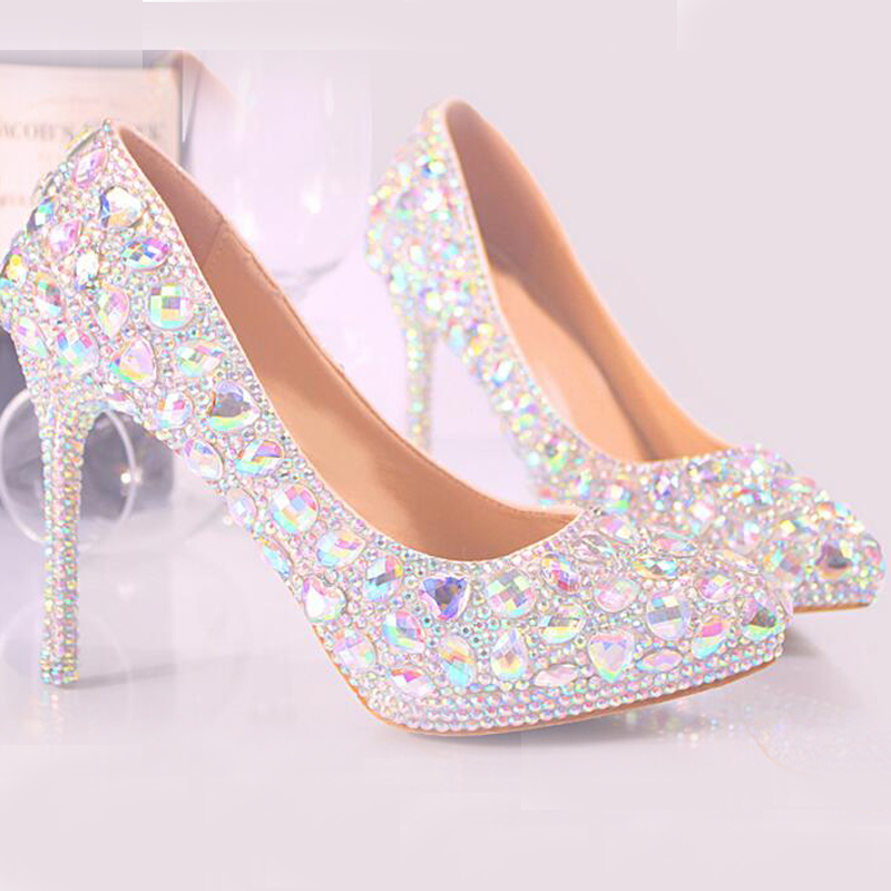 ФОТО High Quality Crystal Shoes Pointed Toe Wedding Party Bride Shoes Women High Heel Shoes Plus Size Banquet Cinderella Prom Pumps
