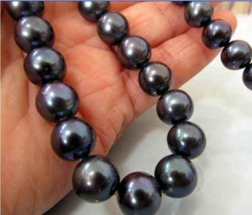 Натуральный 10 11 ММ TAHITIAN AAA + черное Жемчужное ожерелье 18 &quot14 k/20 золотая застежка -