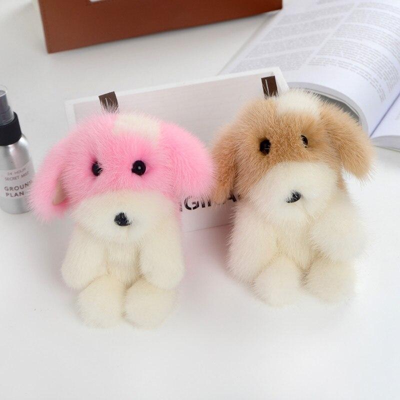 Mignon peluche chien chiot porte-clés vison fourrure collier authentique porte-clés Animal femmes accessoires sac pendentif à breloque