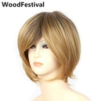 35 cm afro-amerikaanse korte rechte haar pruiken vrouwen synthetisch haar hittebestendige blond bruin ombre pruik bob WoodFestival