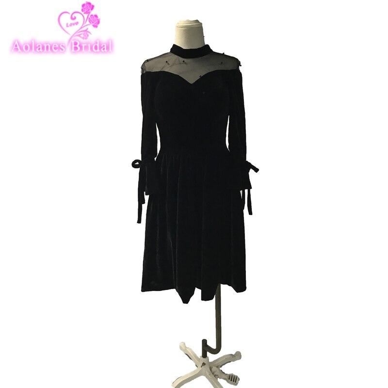 Little Black High-neck Long Sleeves Tea-length Zipper Prom Gown Simple Luxury Velvet Prom Dresses Dancing Party Dresses