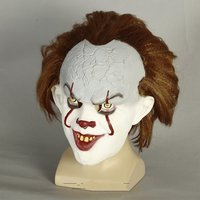 Stephen King's It Mask Cosplay Costume Scary Clown Pennywise Helmet Horror Joker Halloween Props
