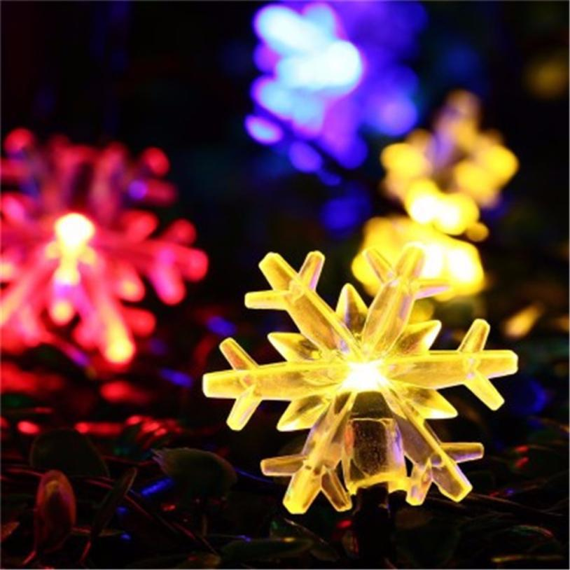 20 LED christmas garland Outdoor String Light Garden Christmas Snow Head Fairy Lamp Sola ...