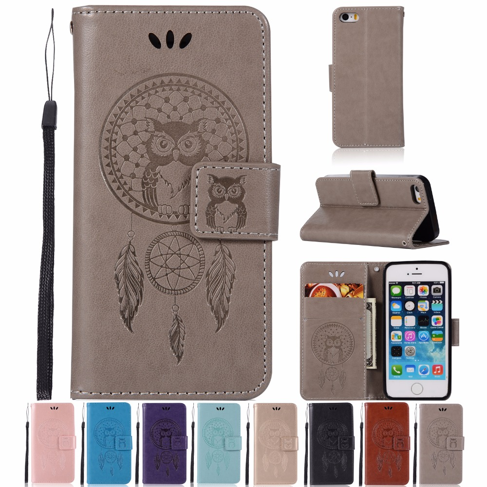AIGLAT Case For Apple iPhone 5 5S SE PU Leather Case Stand Function Card Holder Embossed Owl Magnetic Flip Wallet Purse Case