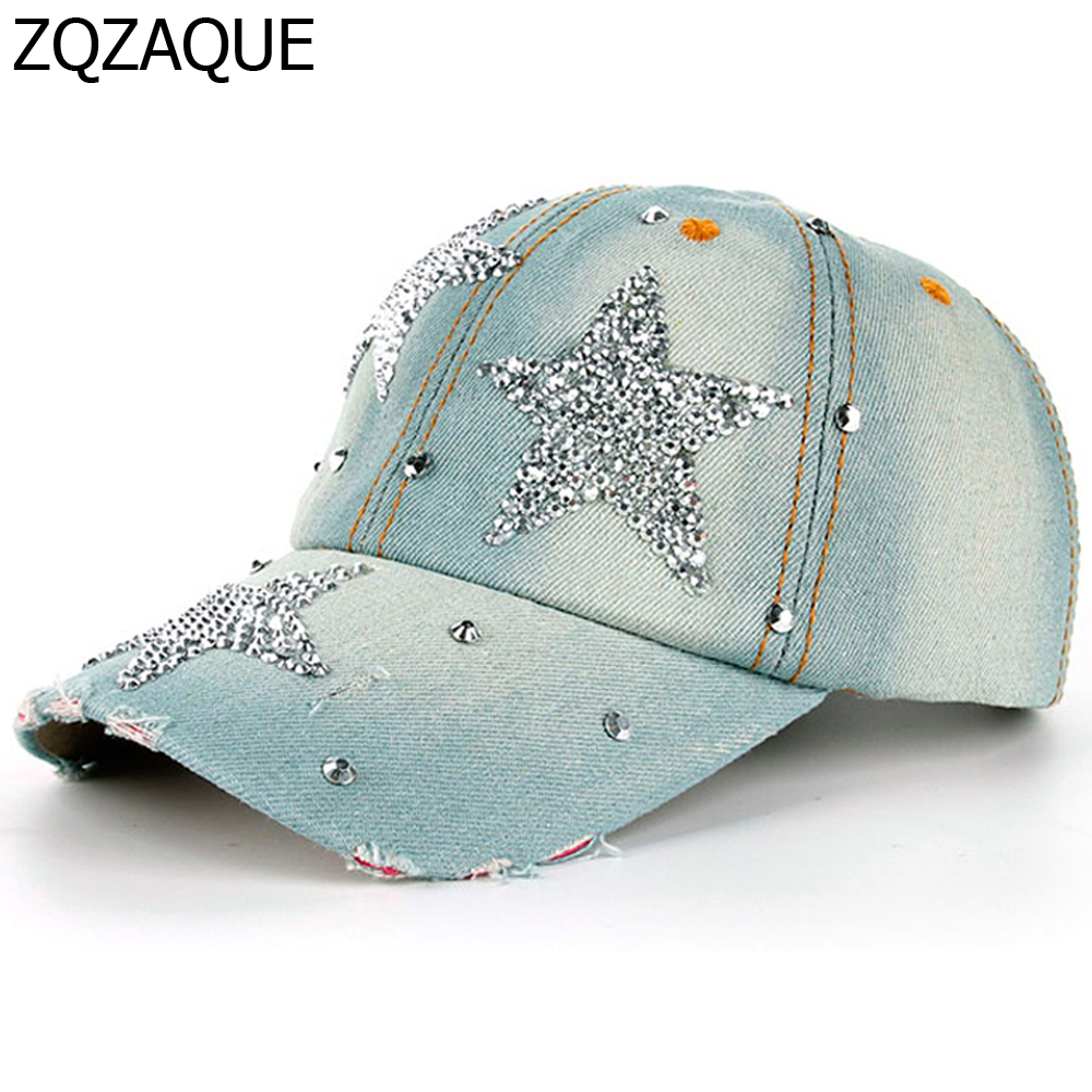5c65112e653 100% Manural Drill Five pointed Star Decorated Caps Women s Rhinestone  Denim Baseball Caps Casual Girls  Summer Nice Hats SY577-in Baseball Caps  from ...