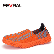 FEVRAL New Woman Handmade Weave Shoes Woman Classic Moccasin Comfortable Slip On For Ladies Shoes Casual Woman Flats Shoes