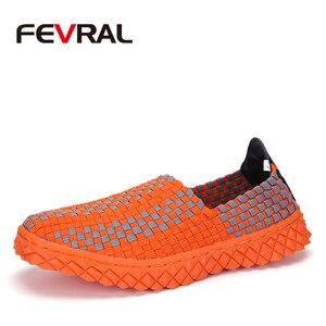 Image 1 - FEVRAL zapatos de tejido hechos a mano para mujer, mocasín clásico, cómodos, sin cordones, planos, informales