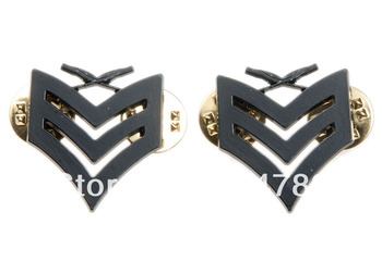 PAIR OF US USMC MARINE CORPS SERGEANT INSIGNIA RANK METAL BADGE PIN BLACK