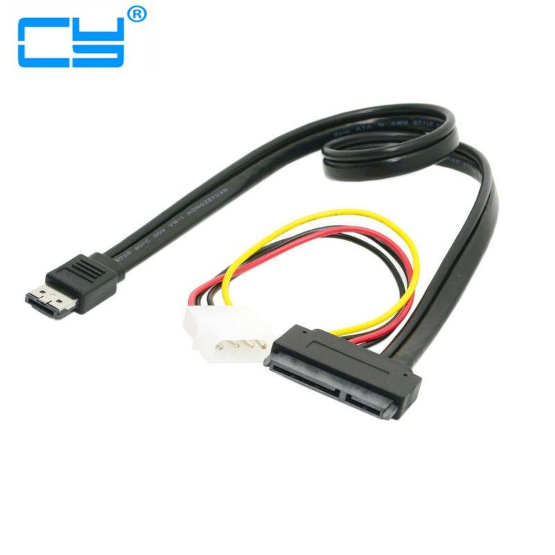 50cm ESATA Power ESATA Combo To SATA 22pin & IDE 4pin 5V 12V Cable Adapter For 3.5