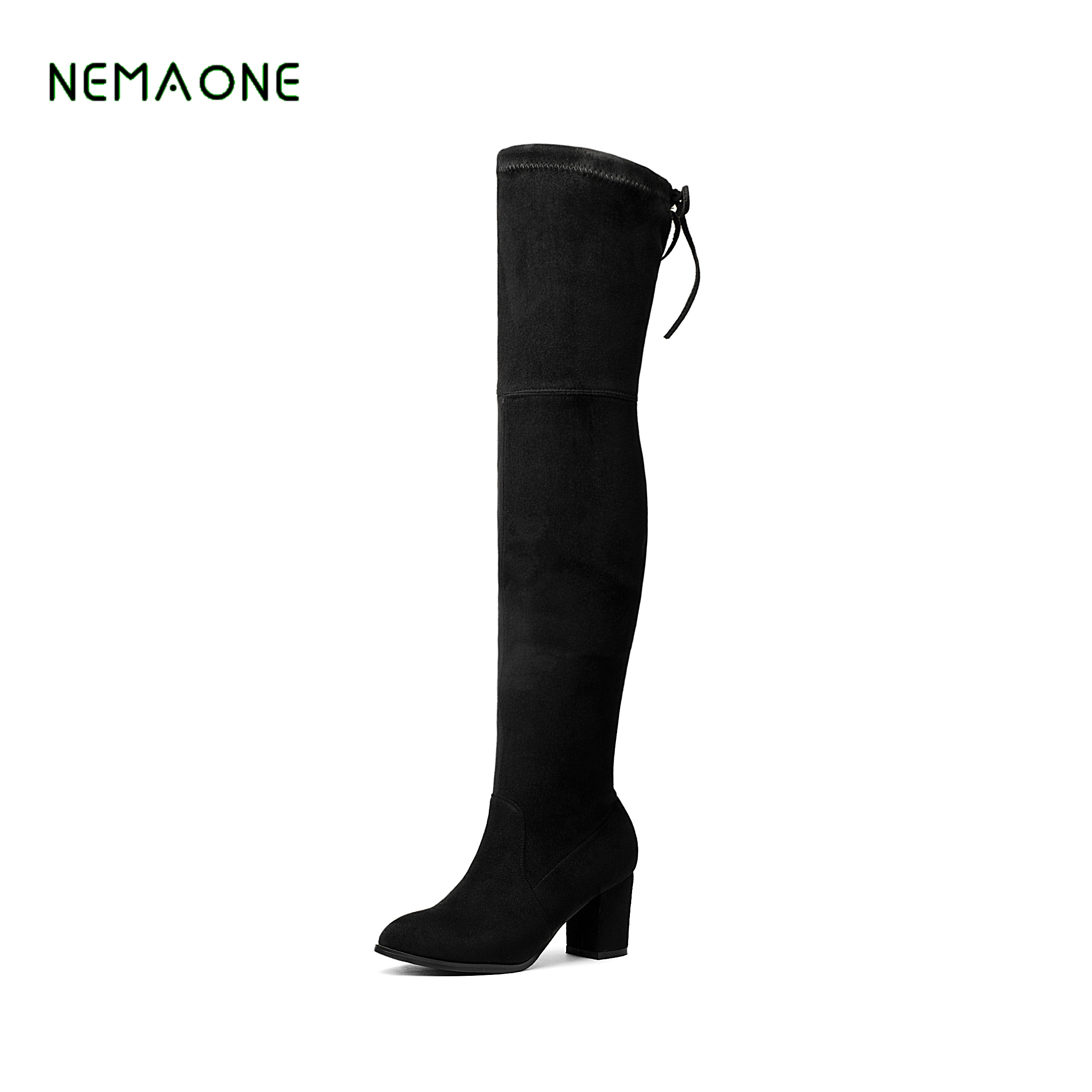 9434e10ec3c NEMAONE Faux Suede Slim Boots Sexy over the knee high women snow boots  women s fashion winter thigh high boots shoes woman