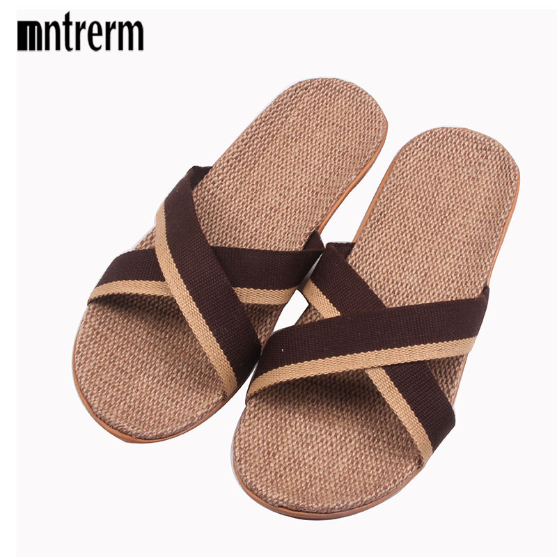2018 Fashion Home To Fight Cross-Color Linen Slippers Spring Canvas Flax Slippers High quality Large size Men Indoor Slippers sneakers