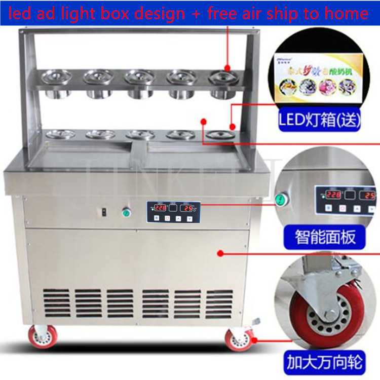 free air ship to your home 2017 ice cream roll freezers temperature control CE 110V 220V fried ice cream machine thai ice maker free air ship to your home ce r410 single pan 304 stainless steel fried ice cream roll machine fried thai ice machine for sale