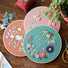 Cross Stitch Beginner Needlework Practice Kits 3D Ribbon Embroidered 20x20cm Floral Wall Painting DIY Ribbons Embroidery oem diy 20x20cm