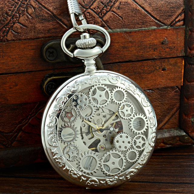 Antique Silver Pocket Watch With Chain Mens Mechanical Fob Watches Hand Wind Steampunk Gear Pendant Vintage Necklace Clock Retro