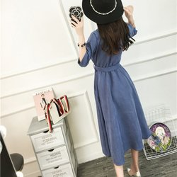 Ladies Belt Half Sleeve Dresses Elegant Vestidos Clothing Femme Beach Party Dress Women Spring Dress Y6 4