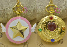 wholesale Anime Sequence Card Captor Sakura Star Pocket Watch Necklace With Wing Golden Tone fob watches Well-known