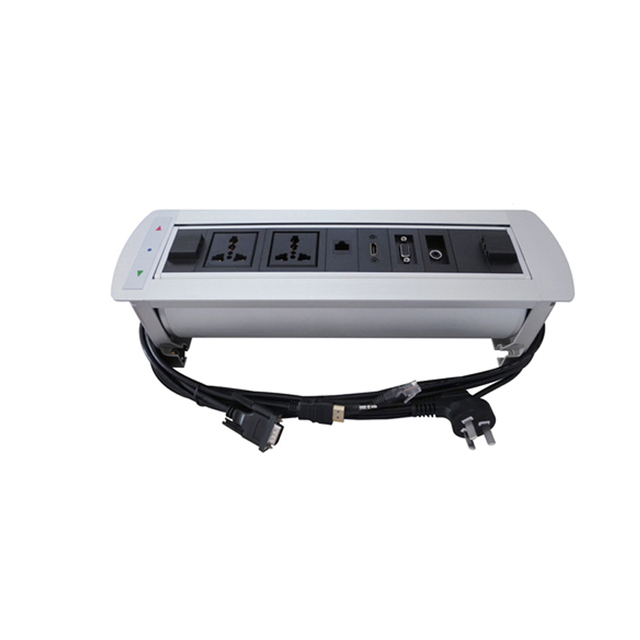 Multifunctional Electric Tabletop Manual Flipping Rotation 180 degree Socket  2 Plug outlets+1 Network+1 HDMI +1VGA + 3.5 Audio