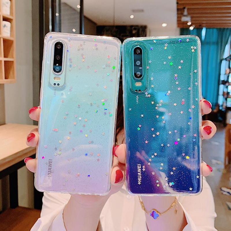 Case For Huawei p20 lite p30 pro nova3i Clear Cute Bling Star Soft Silicon Cover For Huawei honor 8x 7x 10 Case mate10pro p8 p10 in Fitted Cases from Cellphones Telecommunications