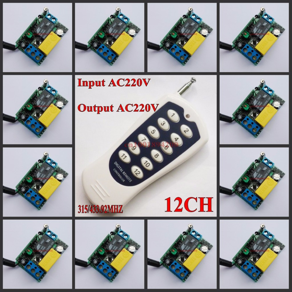 220 В 12ch Беспроводной Дистанционное управление переключатель Системы свет/лампа LED SMD доступ Дистанционное управление Системы на мгновенное ...