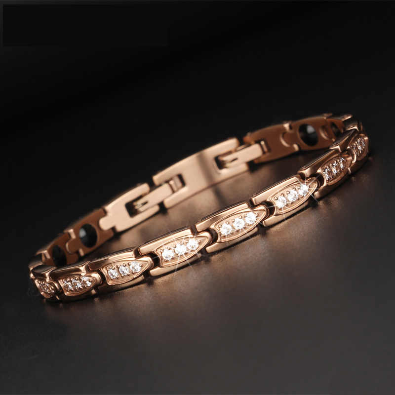 "TrustyLan Magnetic Infrared Germanium Negative Ion 4-in-1 Healing Bracelet For Women Rose Gold Color Health Care 7.5"" Bracelets"