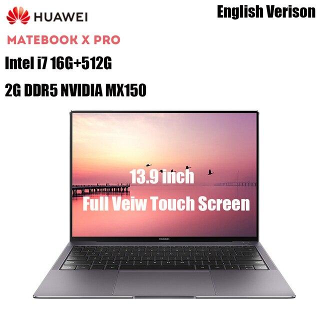 HUAWEI MateBook X Pro Notebook 13.9'' Intel Core I7 16GB 512GB NVIDIA Geforce MX150 Fingerprint Recognition Touch Screen Laptops