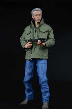 Mnotht 1/6 Male Solider Terminator Arnold Trench jeans windbreak Suit Clothes With Boots And 1/6 Scale Gun Model l30 A008 - DISCOUNT ITEM  11% OFF All Category