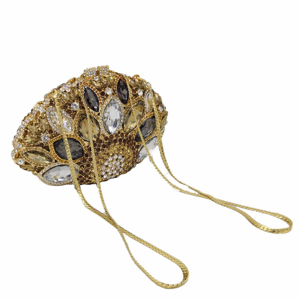 Boutique De FGG выдалбливают Для женщин шикарная, из кристаллов Сумка-клатч вечерняя сумки Свадебный Свадебная вечеринка выпускного вечера сумочка кошелек металлический клатчи