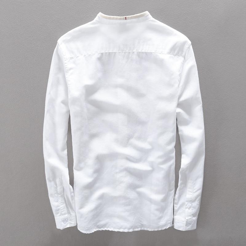 Yaz Yeni Marka erkek gömlek Slim Fit Keten gömlek erkekler uzun - Erkek Giyim - Fotoğraf 2
