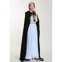 Fashion Pageant Velvet Cloak for Women Full Length 71 Luxury Europe Style Robe Medieval Cape Cosplay Party Queen Costumes Black