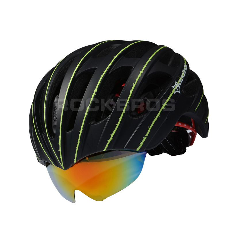 RockBros Bicycle Helmet Cycling EPS+PC Material Ultralight Mountain Bike Helmet 32 Air Vents With 3 Lenses SIZE:56-62cm 2017 high grade bicycle helmet eyewear ultralight road cycling safety helmet mountain bike helmet glasses with 3 lenses 5 colors