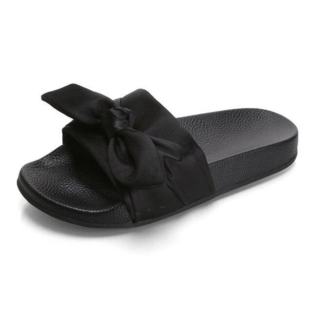 daba7b43e7a49 Silk Bow Fashion Slides Women Summer Slippers 2018 Sandals Pink Flat  Chinelo Brand Beach Shoes Rihanna Casual Flip Flops Bohemia