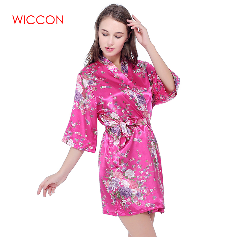 WICCON Faux Silk Floral Printed Short Bathrobe Fashion Dressing Gown For Women Wedding B ...