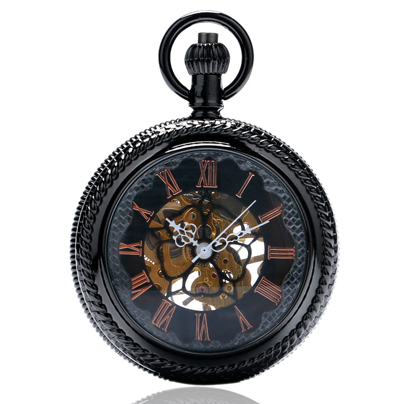Vintage Black With Hollow Glass Case Flower Roman Number Dial Cool Mechanical Pocket Watch With Chain Watch Men vintage cool black hollow case with roman number dial skeleton steampunk mechanical pocket watch with chain to men women